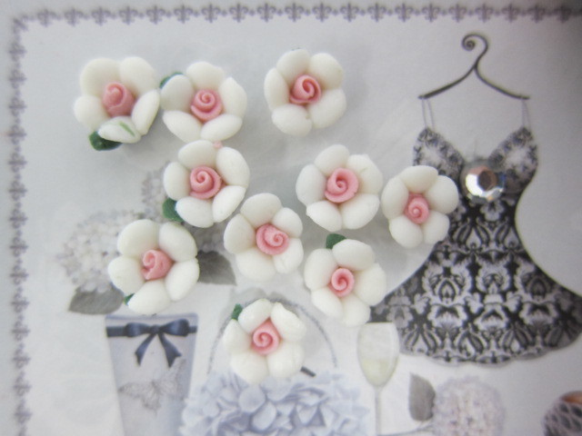 10pcs Large Shabby Ceramic Flower  - White, Pink, Blue, Mint