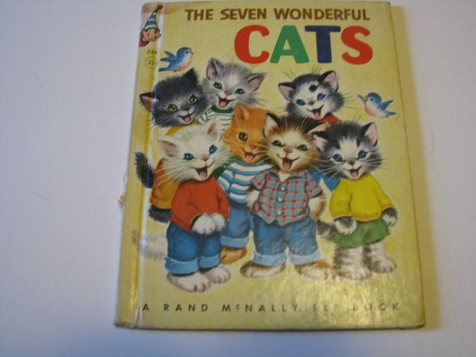 RARE Vintage The Seven Wonderful Cats - A Rand McNally Elf Book - 1956-