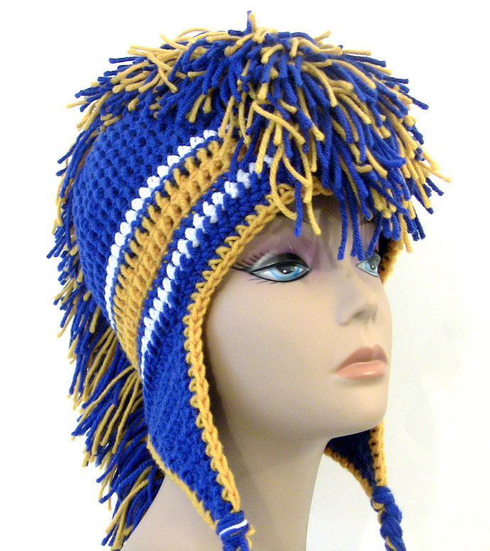 Royal Blue and Gold Mohawk Hat - by UnexpectedTreasure on Zibbet 0bd60bb2bbc