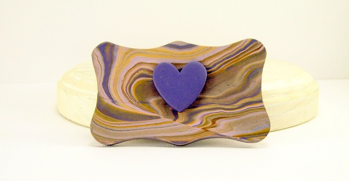 Handmade Clay Brooch, Purple Heart on Multicolored Base, Scarf Pin, Coat Pin