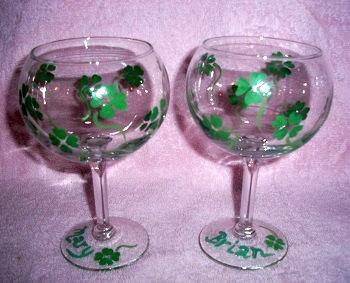 87145281650 Hand Painted Shamrock Wine Glass by TheGiftedLady on Zibbet