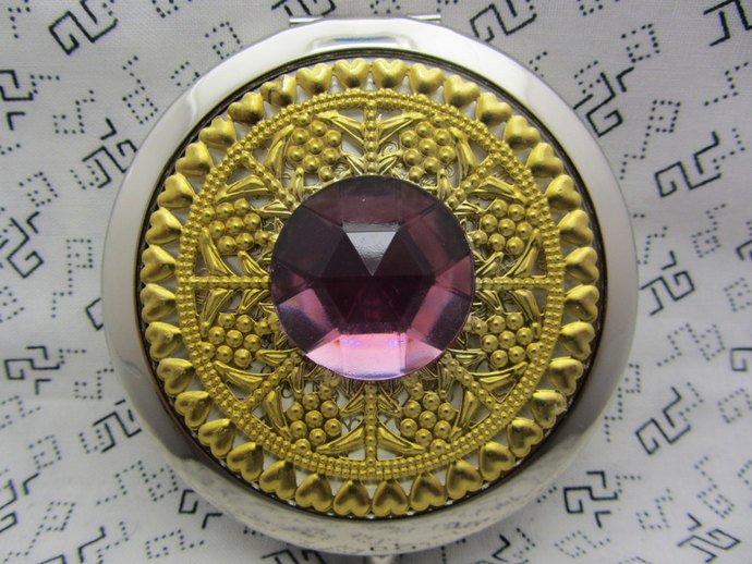 Compact Mirror The Big Bling In Pink Comes With Protective Pouch October