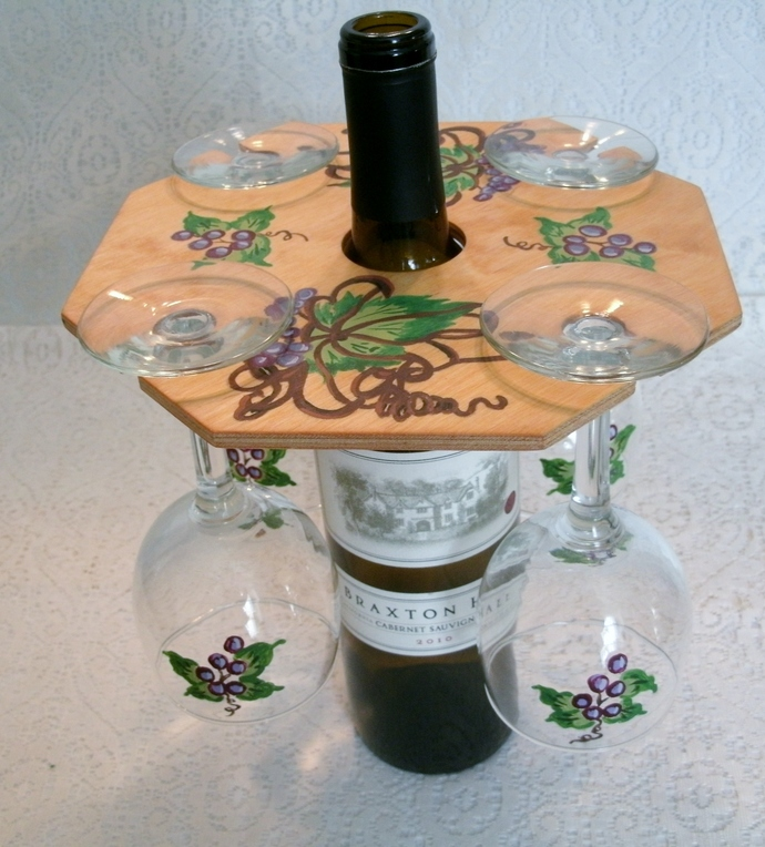 Hand Painted Wine Set, home decor, decorative art, barware, serving, wedding,