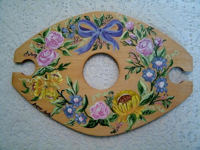 Hand Painted Wine Set, home decor, decorative art, barware, serving, wedding,