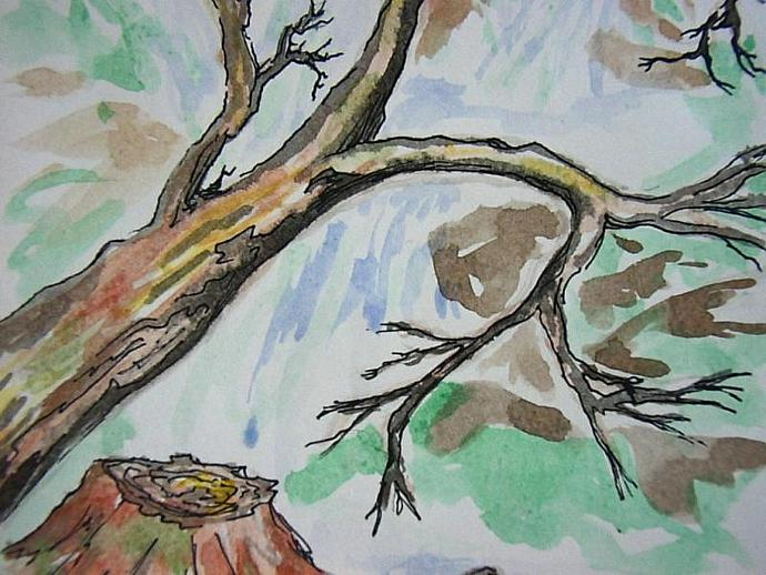 1 handpainted blank greeting card Waterfall and trees