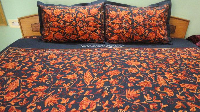 bespoke orange black bedspread rust contactkashmirarts