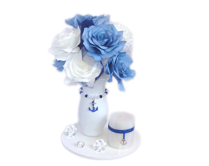 Anchor Centerpiece Navy Blue Wedding By Centertwine On Zibbet