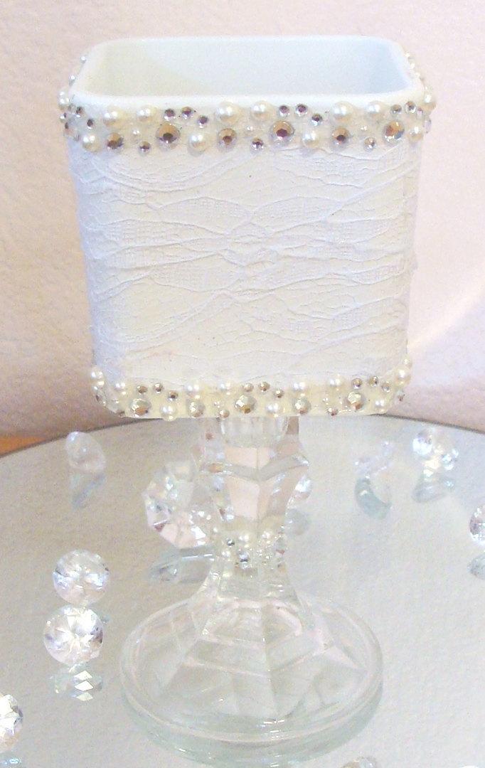 vintage wedding centerpiece white lace glass vase wedding decorations
