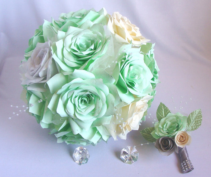 Mint Green bouquet, Ivory bridal bouquet, | Centertwine