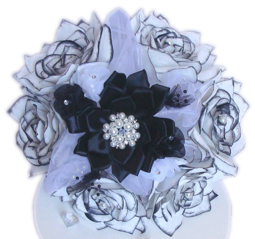 Beautiful white with black tips paper Roses | Centertwine