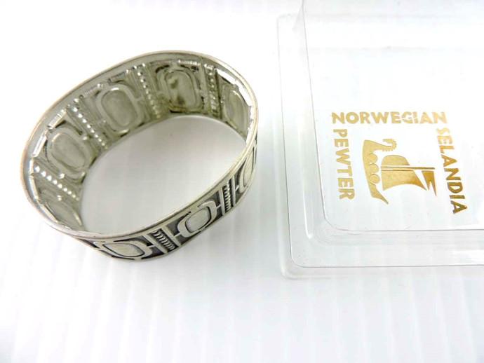 Vintage Selandia Pewter Napkin Ring (Set of 4) NOS