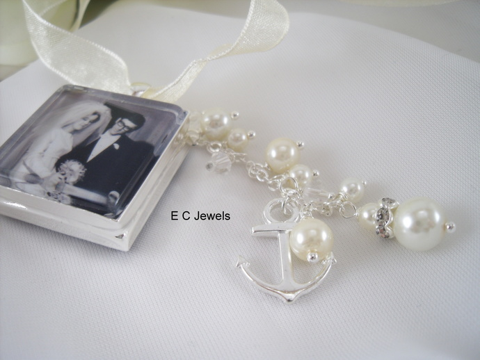 Custom Bouquet Charm with an Anchor,Pearl and Crystal Drop - Pick your color