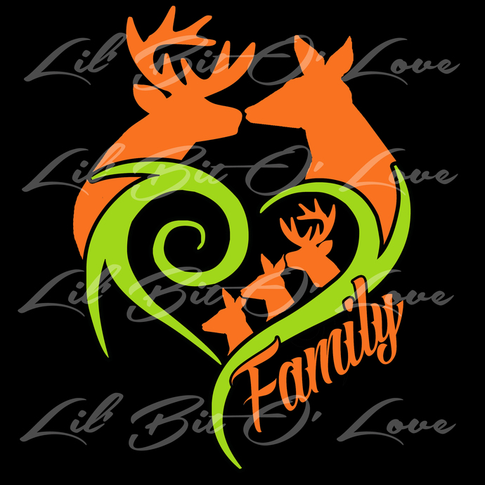 2 COLOR CUSTOM VINYL  DEER WITH FAMILY VEHICLE STICKER, DECAL