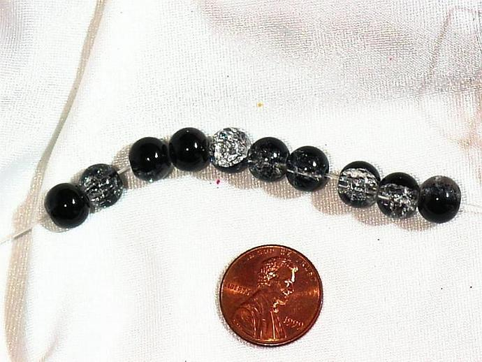 crackle glass beads- black and clear 6mm - 8mm pkg of 10