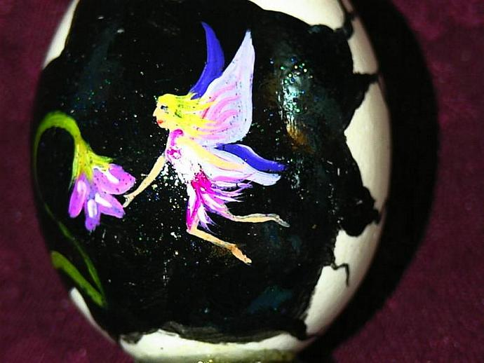 Hand painted egg- 'Other World Egg- Flora Fairy' on a permanent stand