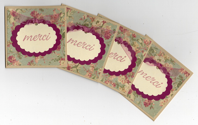 Mini Thank You Note Enclosure Cards - Merci Floral