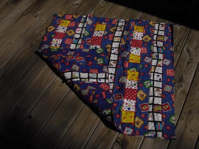 Fun double sided baby quilt with polka dots, bears, and blocks