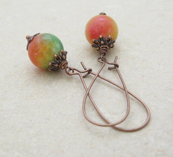 Tropical Fruit earrings: dyed jade beads on long, antiqued-copper ear-wires