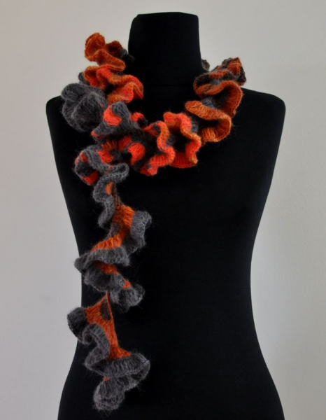 Red Orange Gray Ruffled Warm Mohair Scarf