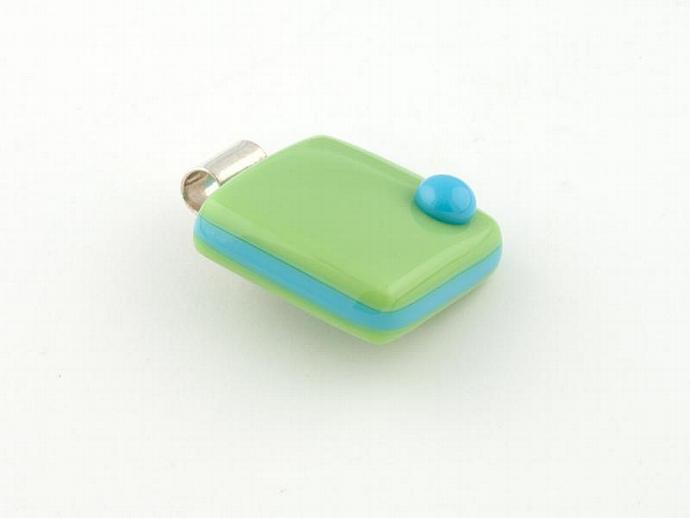 Lime and Blue Green Fused Glass Cube Pendant