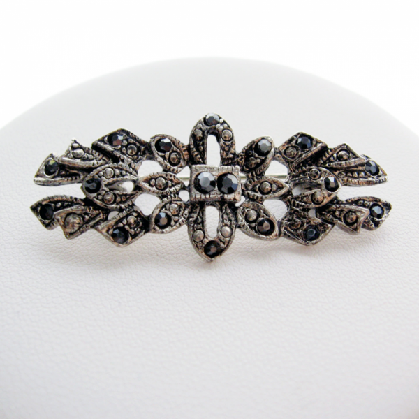Black AB Crystal Reproduction Art Deco Style Bar Brooch Pin - 70s