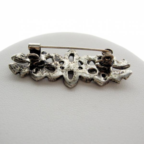 Black AB Crystal Reproduction Art Deco Style Bar Brooch Pin - 70s
