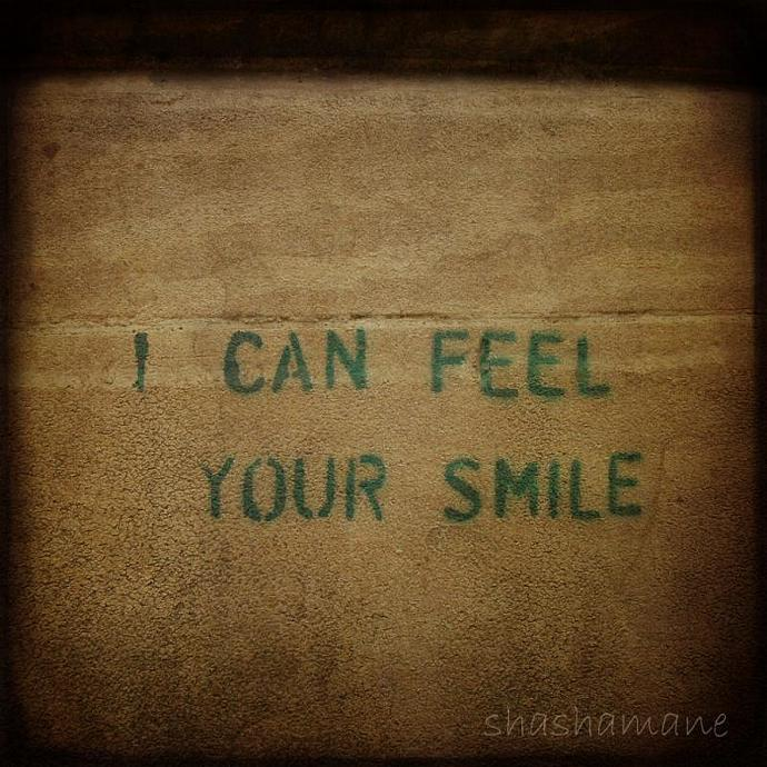 "I can feel your smile 5 x 5"" fine art photography print - stencil graffiti"