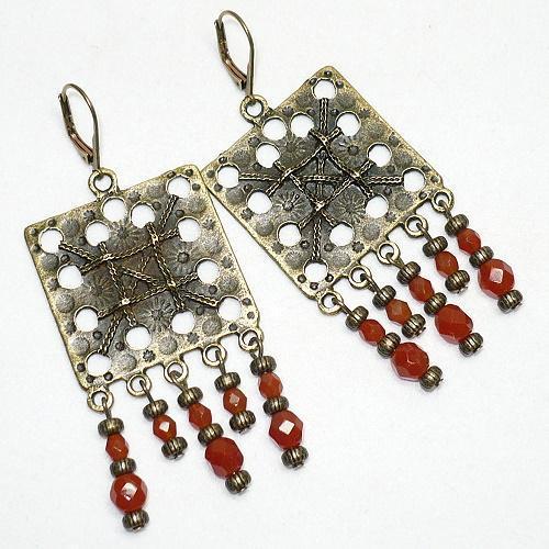 Brass Chandelier Earrings with Czech Carnelian Opal