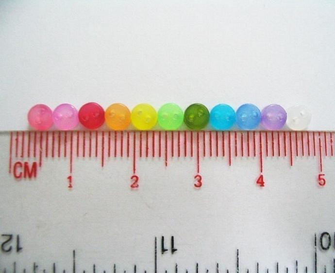 250 pcs Super Tiny 2 hole transluscent button - 4 mm. assorted colors for making