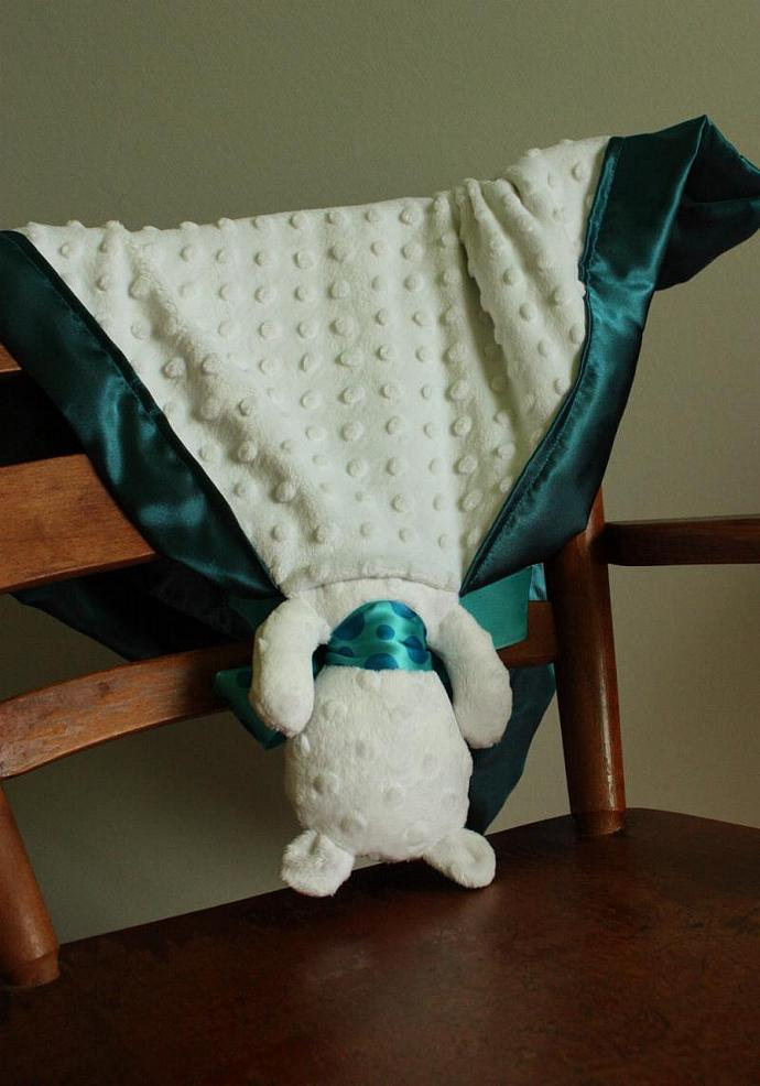 Minky White Bear Lovey Blanket, Satin, Baby Blanket, Stuffed Animal, Baby Toy -