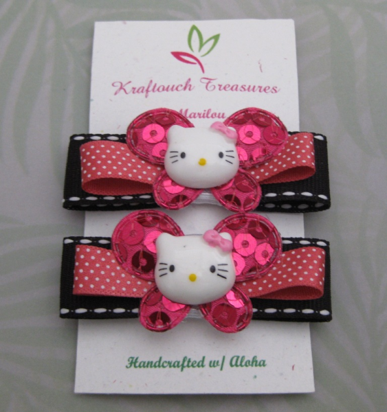 Beaded Fuschia Butterfly- Pink Kitty Clip