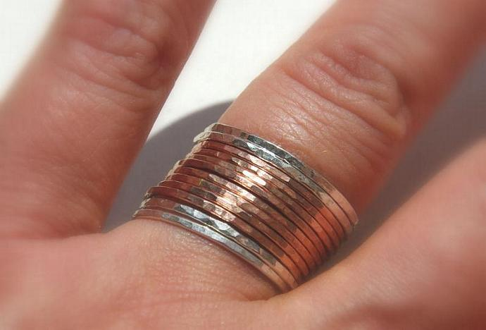 14k rose / pink skinny gold filled and sterling silver hammered stackable rings,