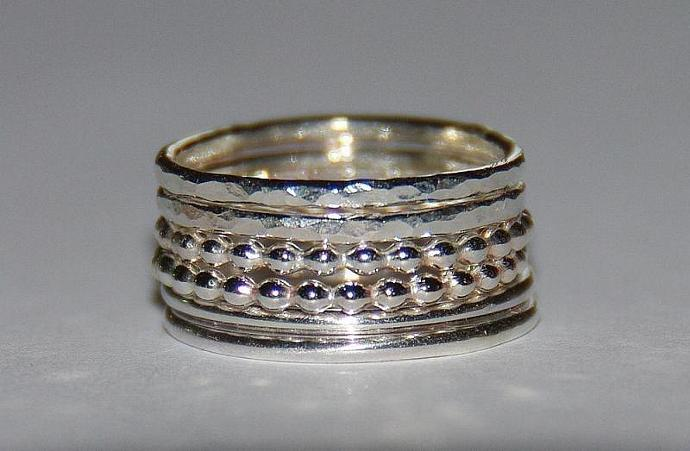 Rustic beaded (dotted), smooth and hammered sterling silver stacking rings set