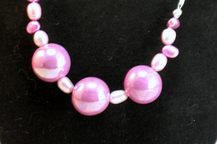 Large Round Mauve Ceramic Bead Necklace & Earrings Set with Pink & Raspberry