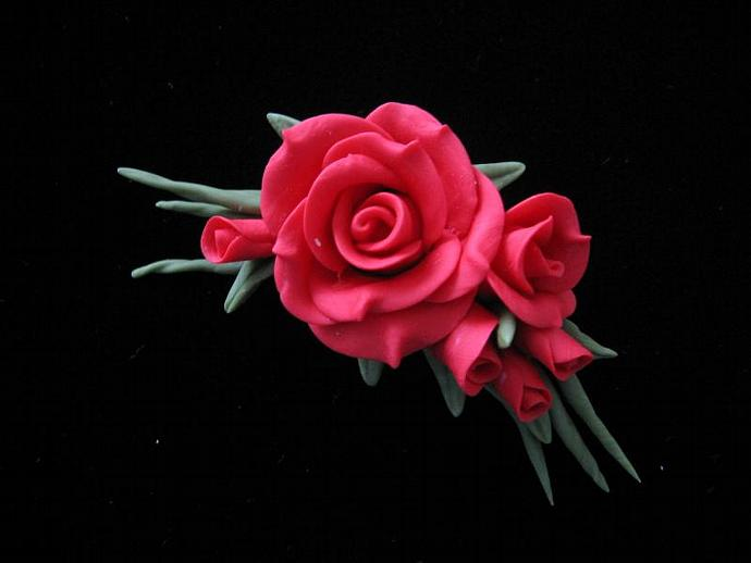 "3"" Cold Porcelain Rose Cluster Pin"