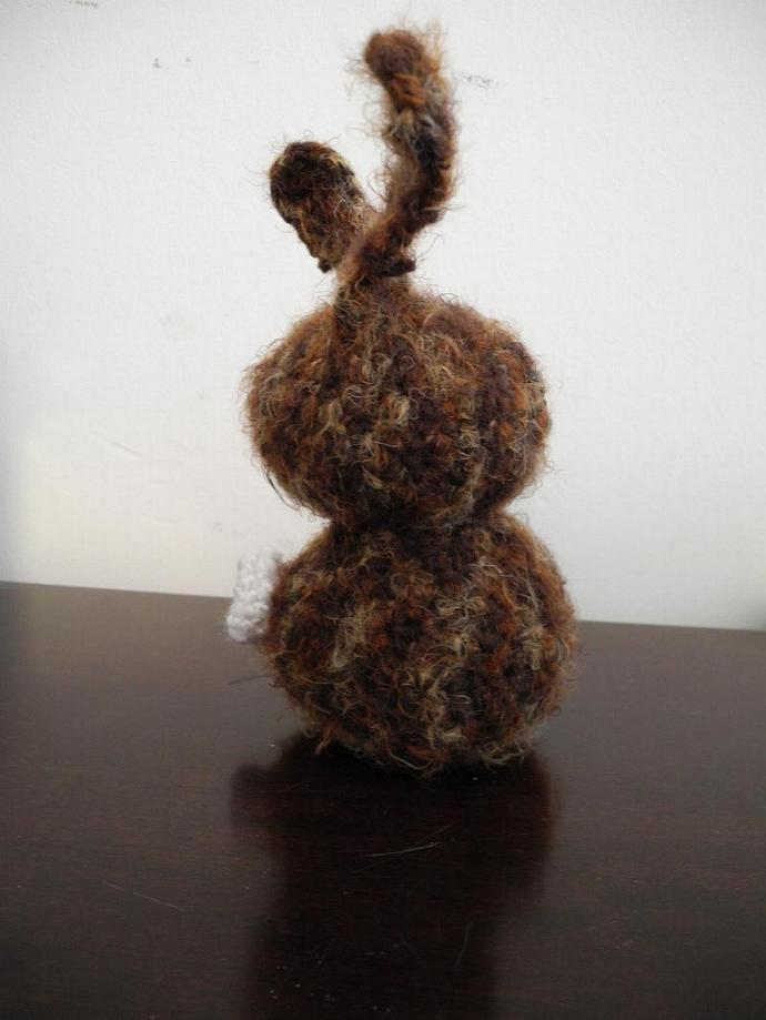 Caramel Chocolate Bunny in Wool and Mohair Blend