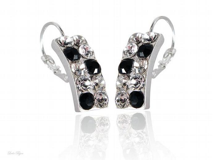 Waning Moon Earrings - Black, White, Gray Swarovski Crystal Silver Plated