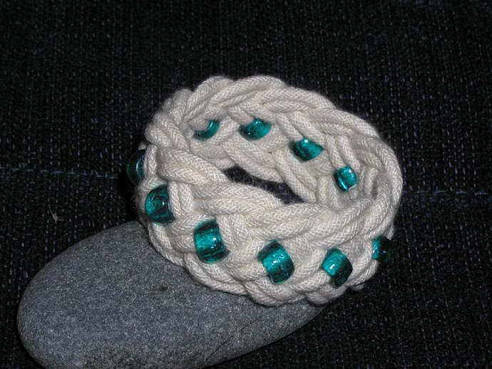 green beaded turks head knot rope bracelet child bracelet handmade beach