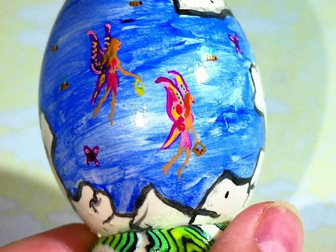 Hand painted egg- 'Other World Egg- Fairy Flight' on a permanent stand