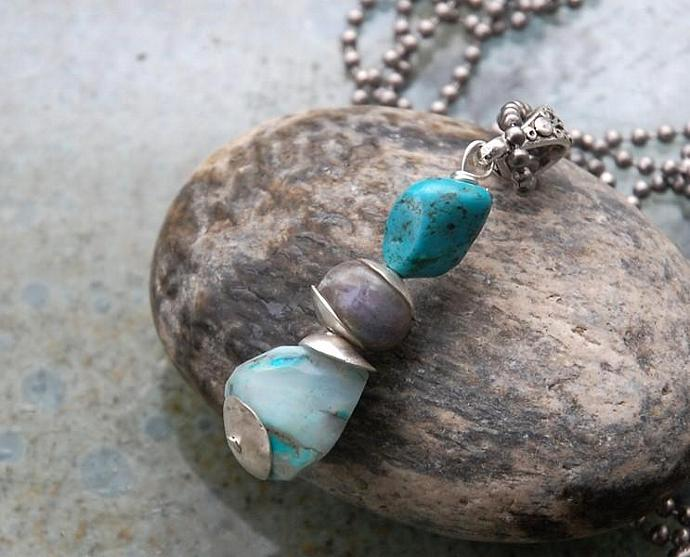 Beach Combers Necklace - Peruvian opal pendant