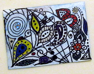 Original ACEO - art card - small format art SFA - ATC Little Bit of Whimsy