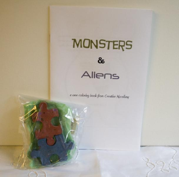 Monsters and Aliens coloring book plus recycled crayons