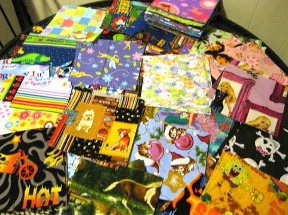 55 mix lot of 5.5 x 5.5 Accuquilt cut Quilt blocks varity of prints