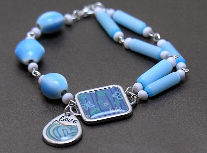 Blue Ceramic & Glass Beads with Silver Charms Asymmetrical Bracelet