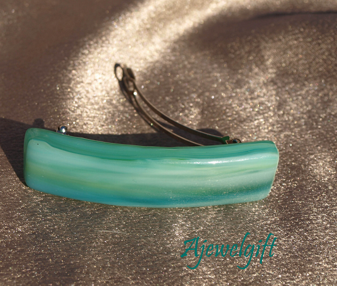 Sea Foam Fused Glass Barrette 10S016