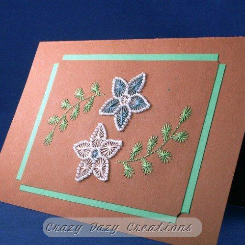 Hand-Beaded Floating Flowers Card