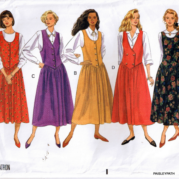 1990 Sewing Pattern Jumper Pinafore Dress with | paisleypath