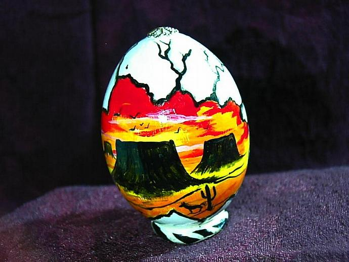 Hand painted egg- 'Other World Egg- Mesas in the Sun- on a permanent stand
