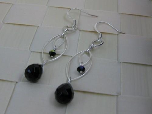 Black Onyx Quartz Chandelier Earring