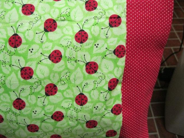 NEW LadyBugs on Green  MINI Pillowcase kids/travel pillowcase